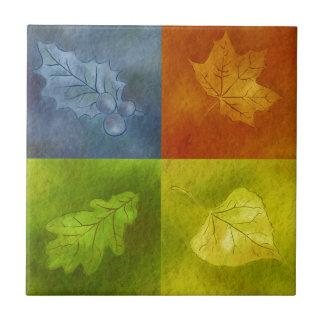 Vier Blätter für vier Jahreszeiten Kleine Quadratische Fliese