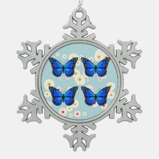 Vier blaue Schmetterlinge Schneeflocken Zinn-Ornament