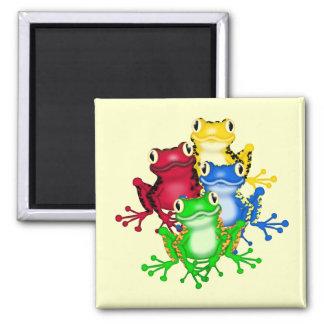 Vier Frosch-T-Shirts und Geschenke Quadratischer Magnet