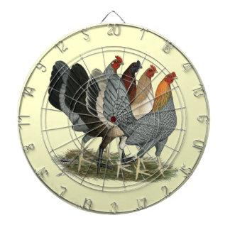 Vier Gamefowl Hennen Dartscheibe
