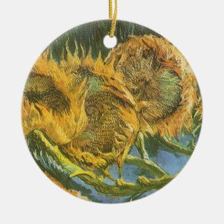 Vier geschnittene Sonnenblumen durch Vincent van Keramik Ornament