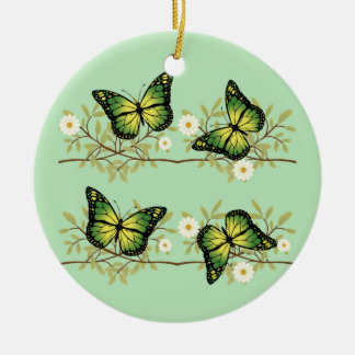 Vier grüne Schmetterlinge Rundes Keramik Ornament