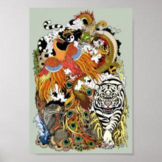 vier himmlische Tiere Poster