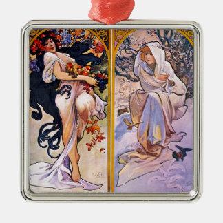 Vier Jahreszeiten durch Alphonse Mucha 1895 Quadratisches Silberfarbenes Ornament