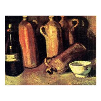 Vier Krüge, Flasche und eine weiße Schüssel - Van Postkarte