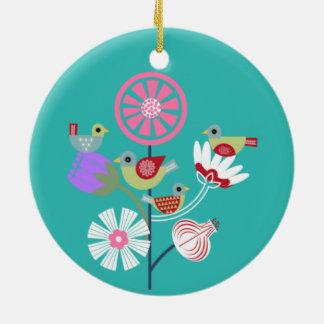Vier nennende Vögel Keramik Ornament