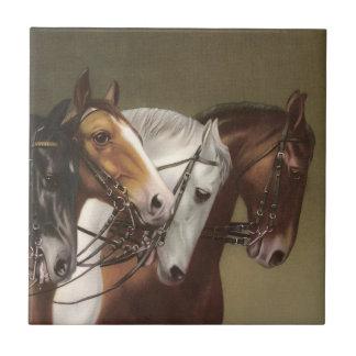 Vier PferdeVintage Kunst-Eigenschafts-Fliese Fliese