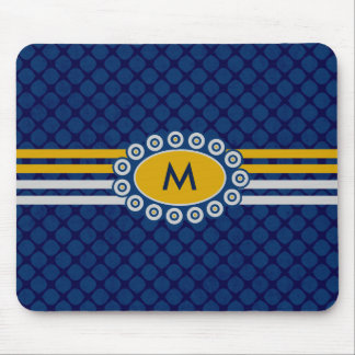Vier Streifen-Monogramm-Blau und Gold ID207 Mousepads