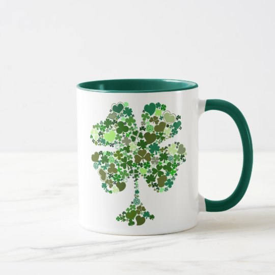 Vierblättriges Kleeblatt Irishcoffee-Tasse Tasse