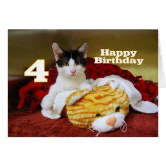 Viertes Geburtstags-Kätzchen mit Spielzeug-Tiger Karte