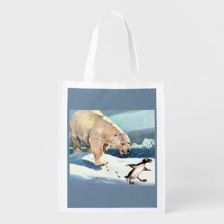 Vierzigerjahre Eisbär und Pinguin Wiederverwendbare Einkaufstasche