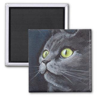 Vieux Smokey - aimant gris de chat