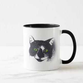 Vignette der Tuxedo-Katzen-Gesichts-Tassen Tasse