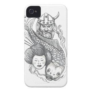 Viking-Karpfen-Geisha-Kopf-Tätowierung iPhone 4 Case-Mate Hülle