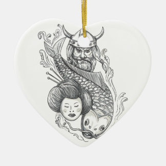 Viking-Karpfen-Geisha-Kopf-Tätowierung Keramik Herz-Ornament