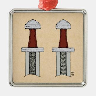 Viking-Klinge-Muster-Schweißen Quadratisches Silberfarbenes Ornament