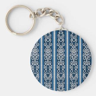 Viking-Muster-Blau Standard Runder Schlüsselanhänger