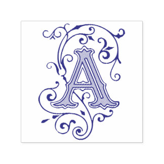 Viktorianisch blühen Sie Buchstaben ein Monogramm Permastempel