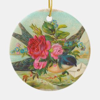 Viktorianische blaue Vogel-Weihnachtsverzierung Keramik Ornament
