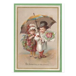 Viktorianische Christams Gruß-Karte 1885 Postkarte