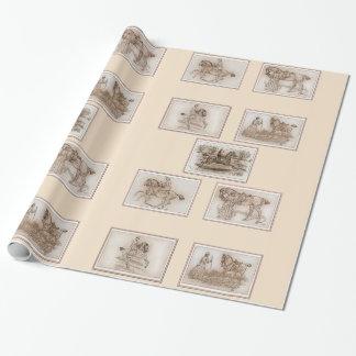 Viktorianische Dame Riding Side Saddle Geschenkpapier
