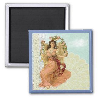 Viktorianische Dame Vintage Collage Quadratischer Magnet