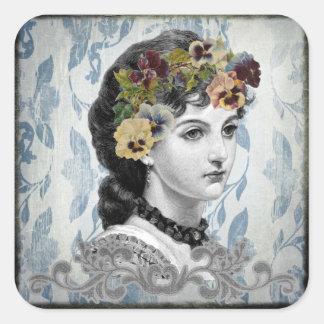Viktorianische Dame Woman Pansies auf Quadratischer Aufkleber