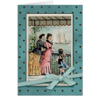 Viktorianische Damen u. Mädchen durch das Meer Grußkarte
