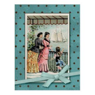 Viktorianische Damen u. Mädchen-Vintage Wiedergabe Postkarte