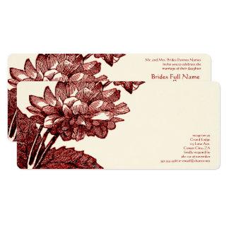 Viktorianische elegante Burgunder-Kohl-Rose laden 10,2 X 23,5 Cm Einladungskarte