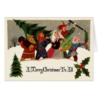 Viktorianische Entwurfs-Weihnachtsgruß-Karte Grußkarte