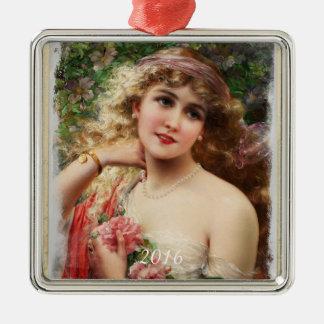 Viktorianische Frau mit rosa Rosen-Verzierung Quadratisches Silberfarbenes Ornament