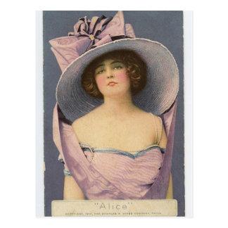Viktorianische Frauen in der lila Kleiderpostkarte Postkarte