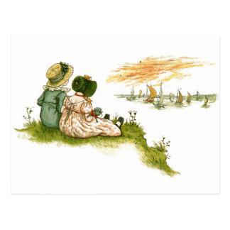 Viktorianische Kinder, die Bootspostkarte Postkarte