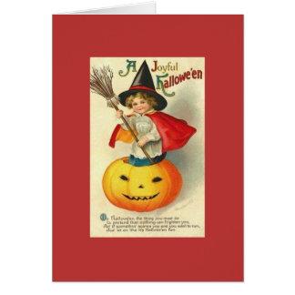 Viktorianische kleine Hexe Hallowe'en Gruß-Karte Grußkarte