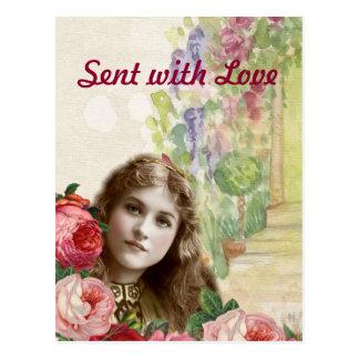 Viktorianische Kohl-Rosen-Frauen-Blumenpostkarte Postkarte