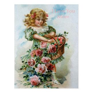 Viktorianische Mädchen-Rosen-englische Postkarte