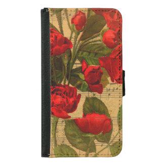 Viktorianische Musik-Blattwatercolor-Rosen-Tapete Geldbeutel Hülle Für Das Samsung Galaxy S5