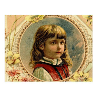 Viktorianische Postkarte Ostern-Mädchens