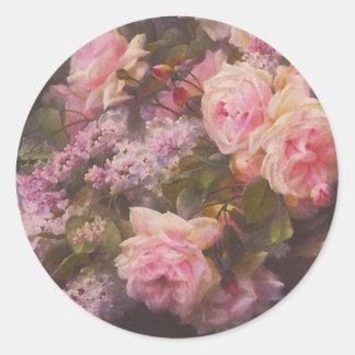 Viktorianische Rosen und Fliedern Runder Aufkleber