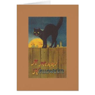 Viktorianische schwarze Katze Hallowe'en Grußkarte