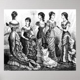 Viktorianische Schwarzweiss-Moden Poster