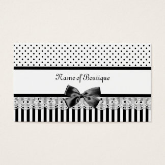 Viktorianische Schwarzweiss-Streifen mit Band Visitenkarte