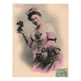viktorianische violette Damenpostkarte Postkarte
