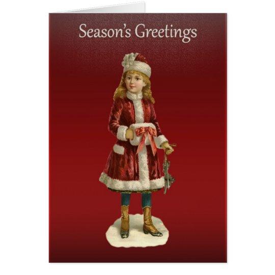 Viktorianische Weihnachtsmädchen-Grüße Grußkarte