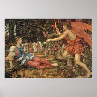 Viktorianischer Engel, Liebe und das Mädchen durch Poster