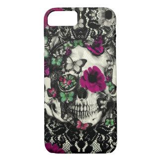 Viktorianischer gotischer Spitzeschädel mit rosa iPhone 8/7 Hülle