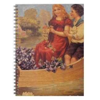 Viktorianischer Junge u. Mädchen im Boot Spiral Notizblock
