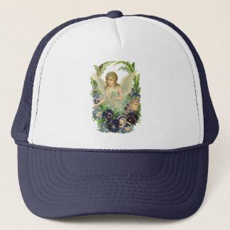 Viktorianischer Ostern-Engel mit lila Pansy-Blumen Truckerkappe