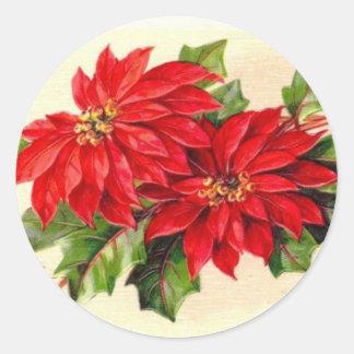 Viktorianischer Poinsettia-Weihnachtsaufkleber Runder Aufkleber